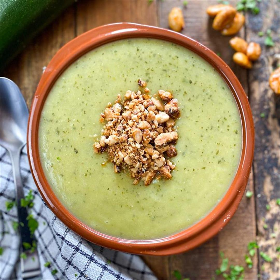Spanish Cream of Zucchini Soup with Honey Roasted Almonds