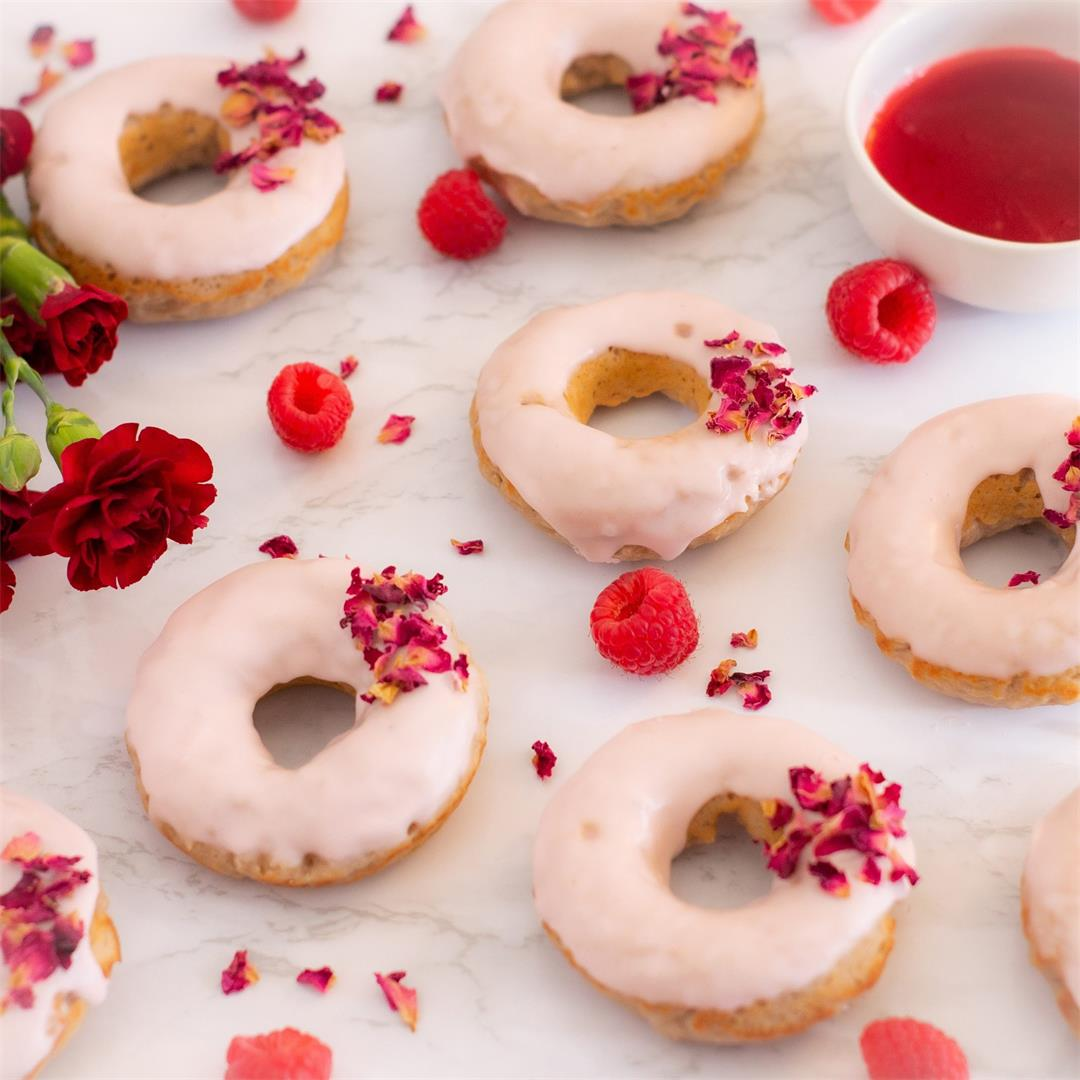 Rose Petal and Raspberry Donuts