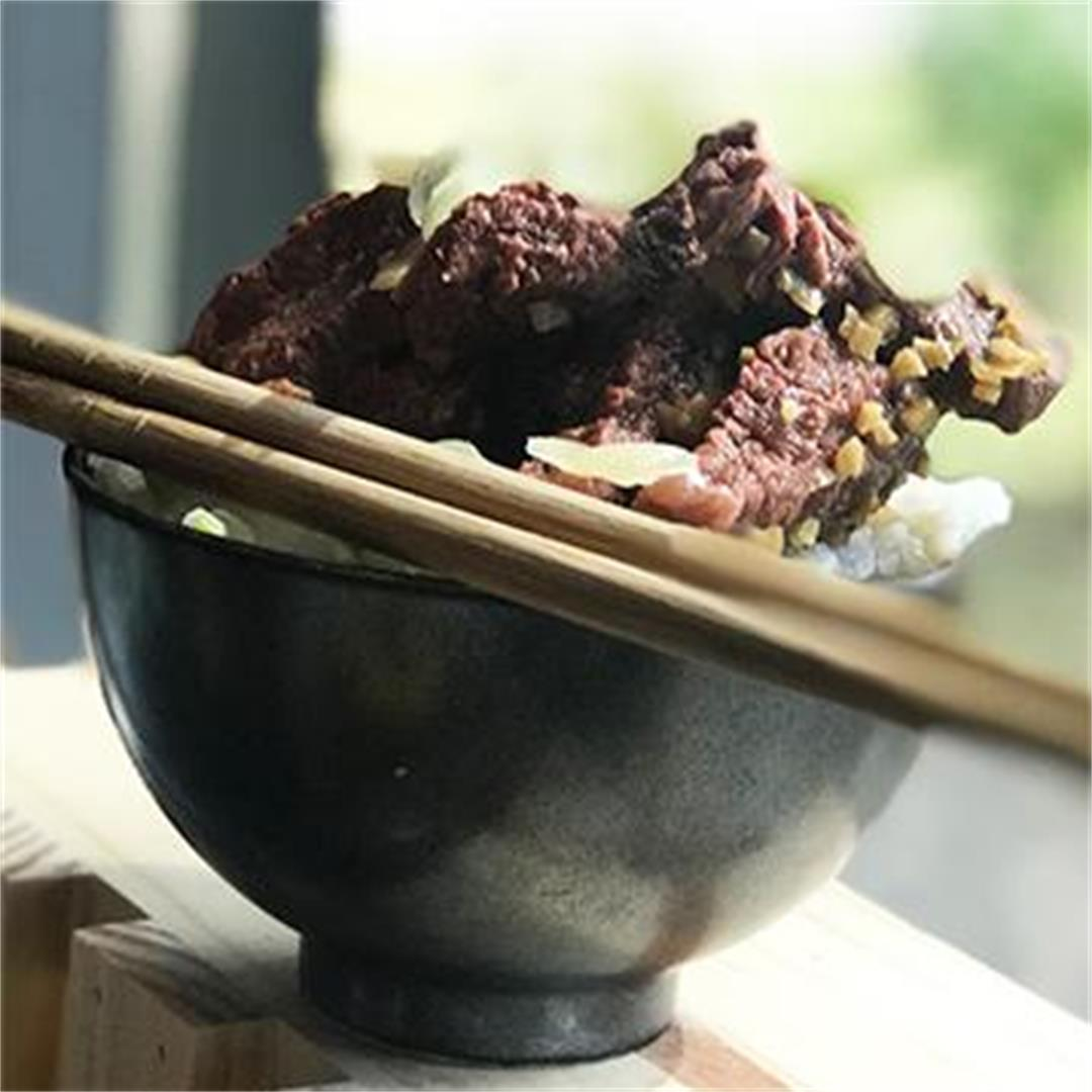 Traditional Japanese Gyudon Rice Bowl with Wagyu Beef