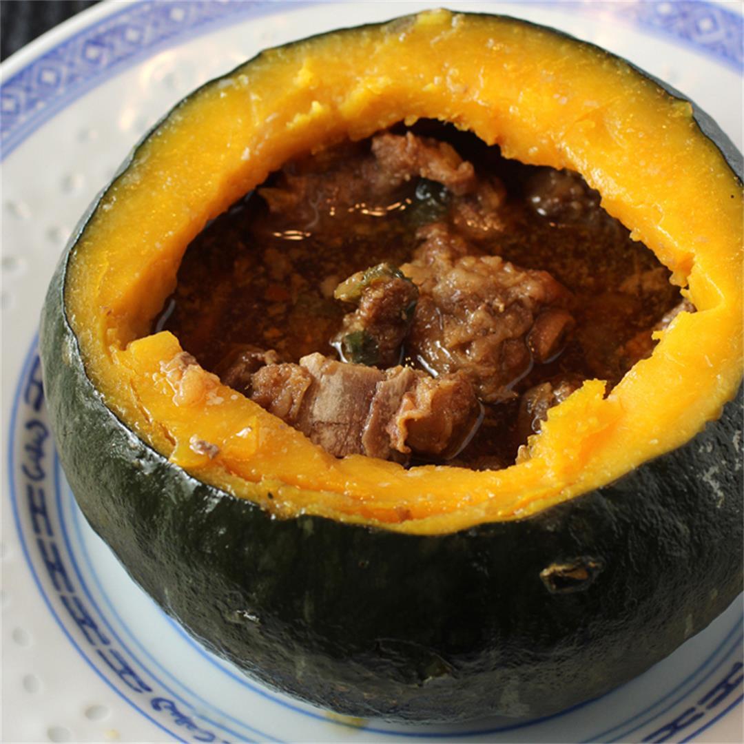 Kabocha squash stuffed with spareribs