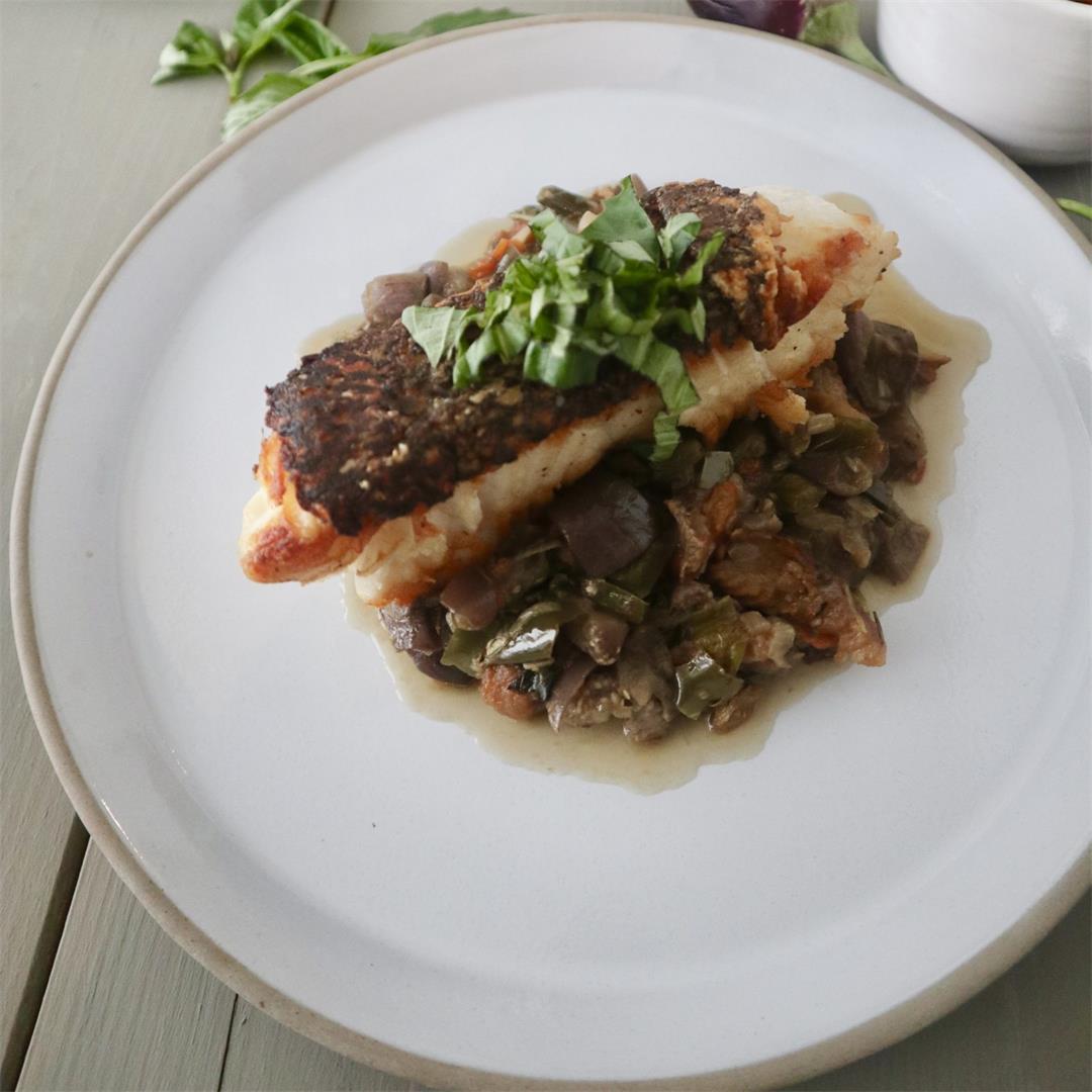 Eggplants(aubergines) with fish recipe
