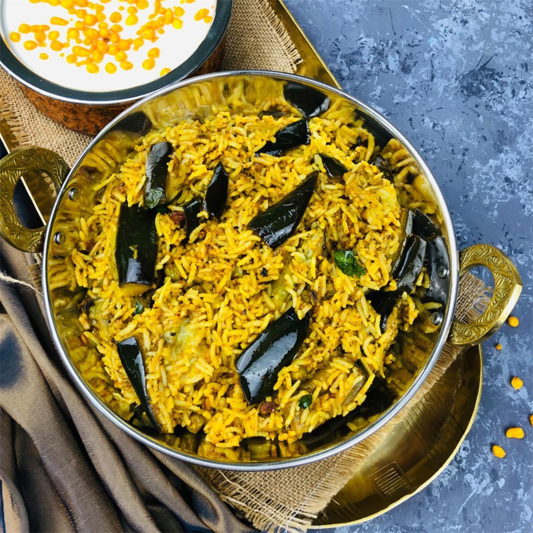 Vangi Bath | Eggplant Rice