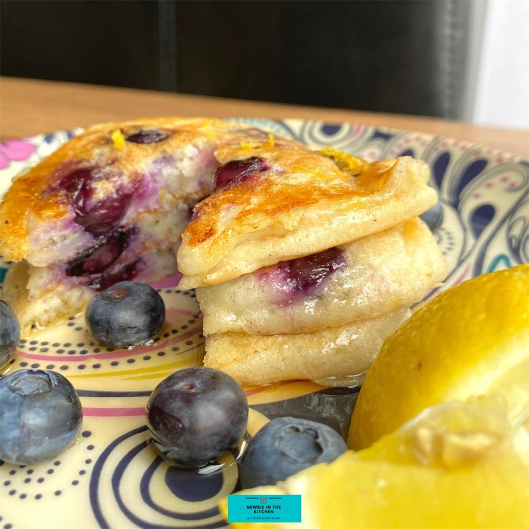 Fluffy Blueberry and Lemon Pancakes