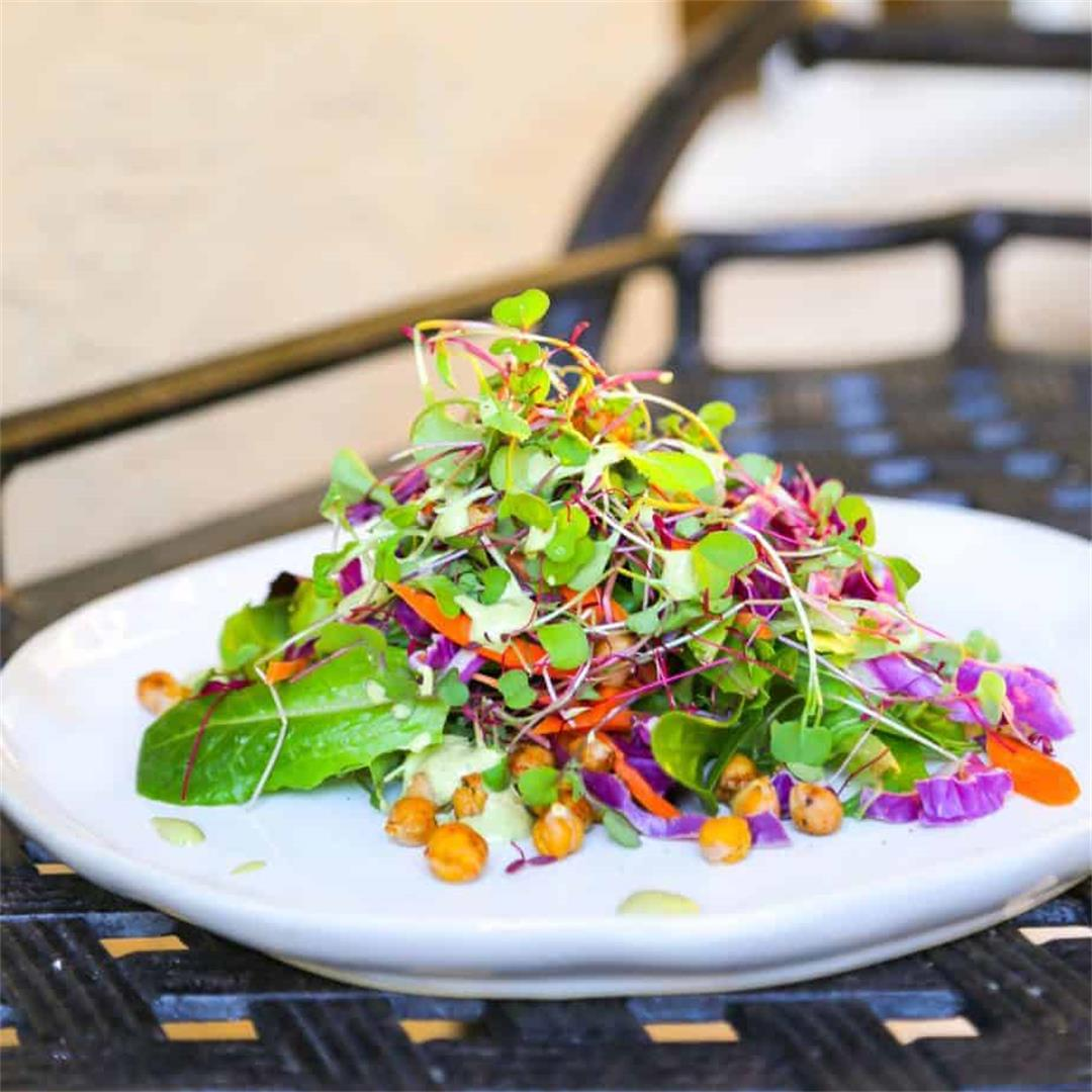 Microgreen Salad, Chickpea Croutons + Green Goddess Dressing -