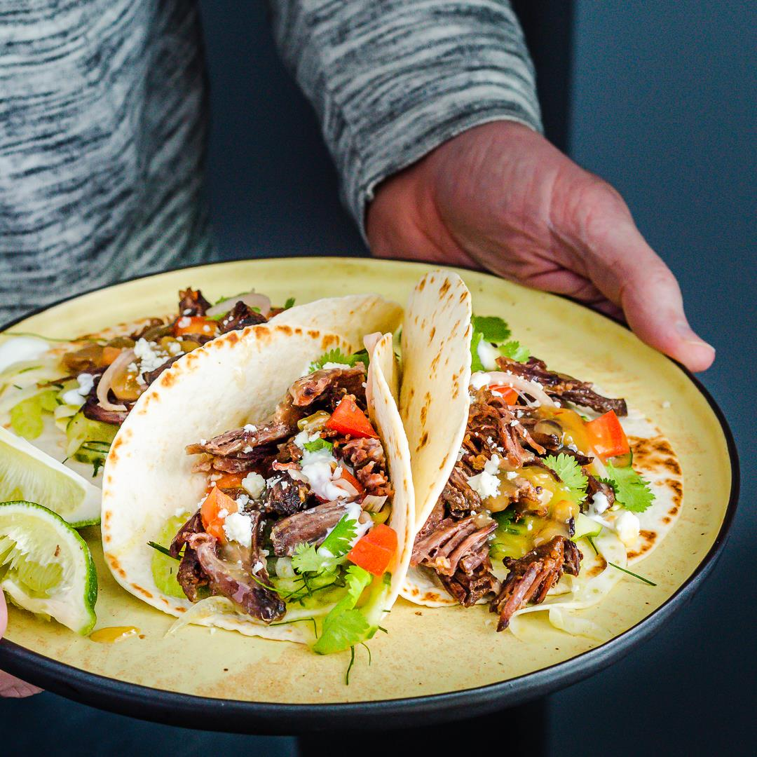 Instant Pot Short Rib Tacos with Tropical Tequila Sauce