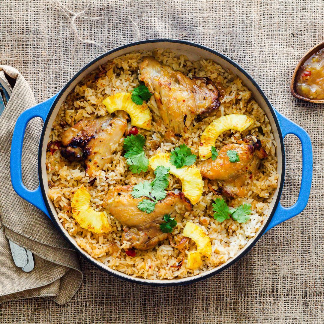 Chicken Rice Casserole with Roasted Pineapple Habanero Sauce