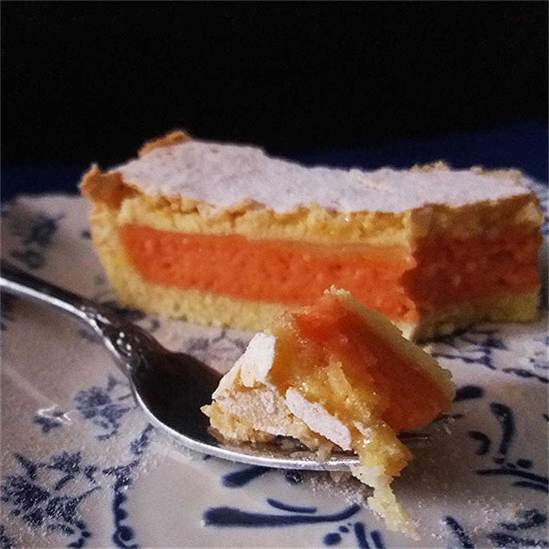 Blood Orange Curd Tart with Lady Fingers Topping