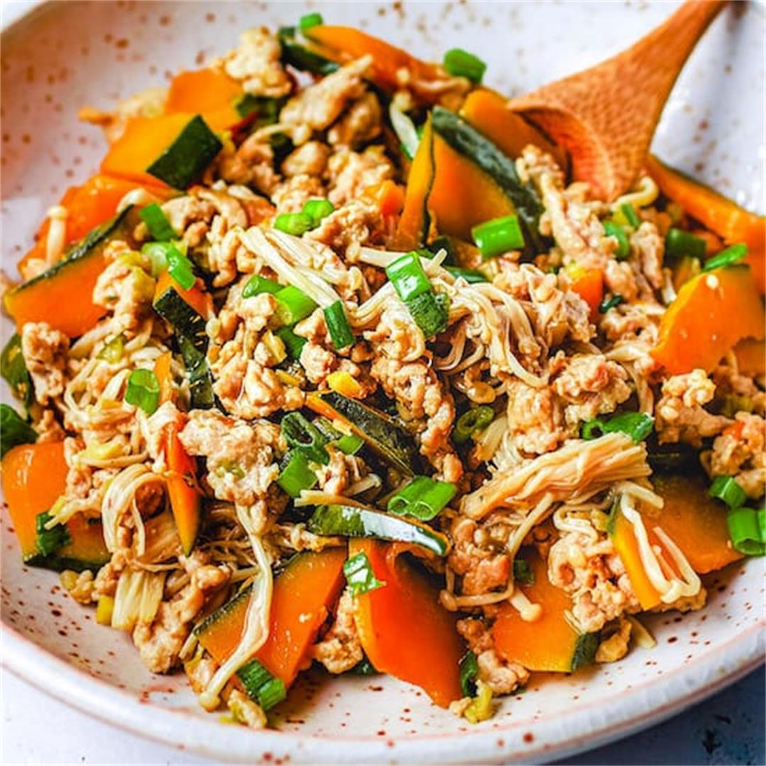 Simmered Kabocha Squash with Chicken