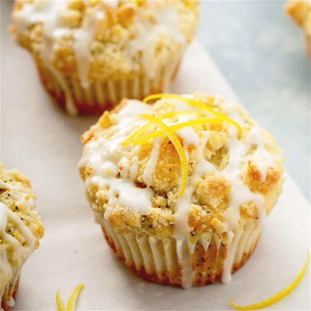 Lemon Poppy Seed Muffins with Streusel and Lemon Glaze