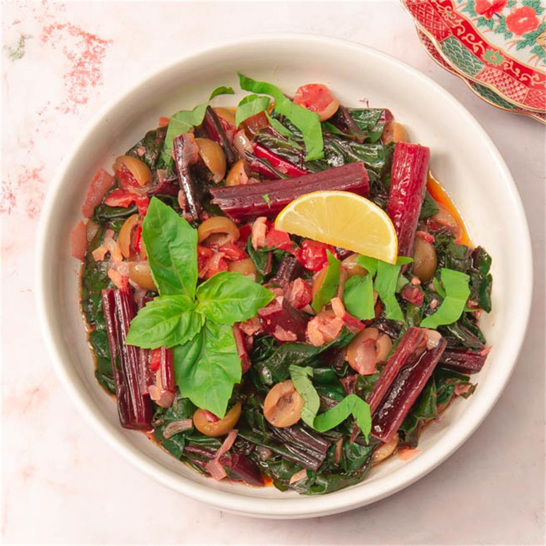 Chard With Tomatoes and Green Olives