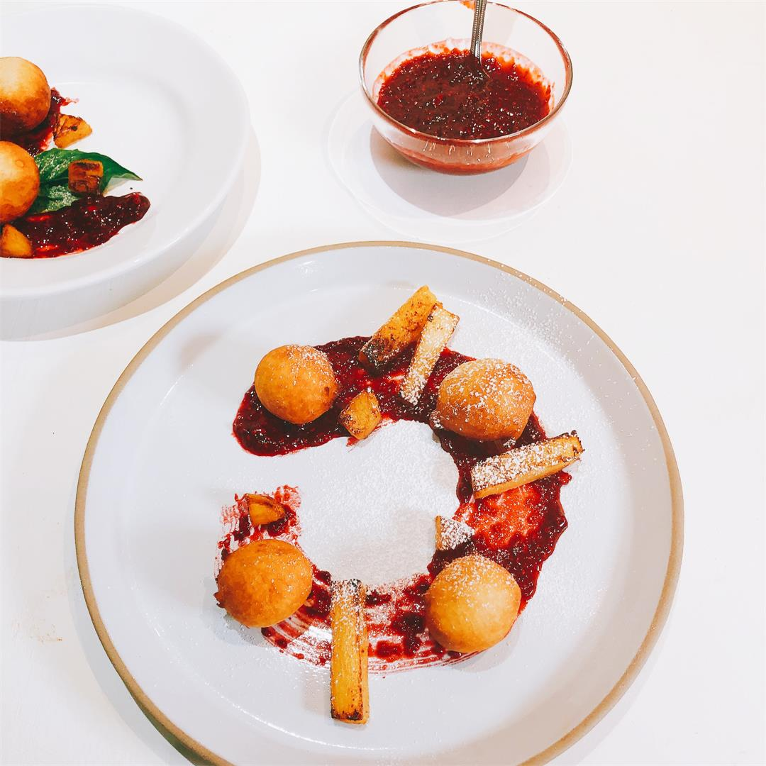 African beignets with raspberry sauce and pineapple recipe