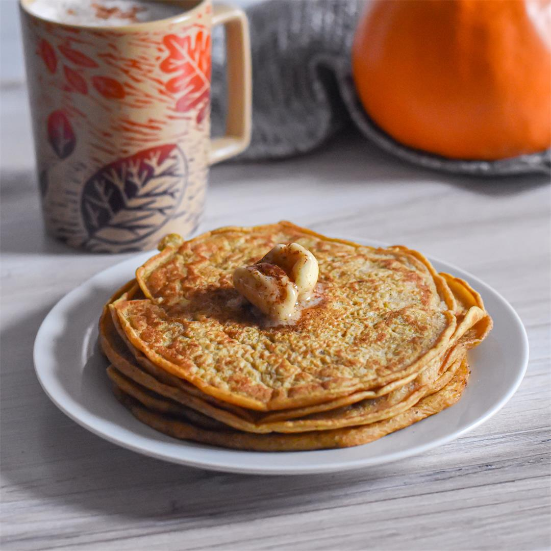 Pumpkin Pancakes with Maple Butter and Cinnamon