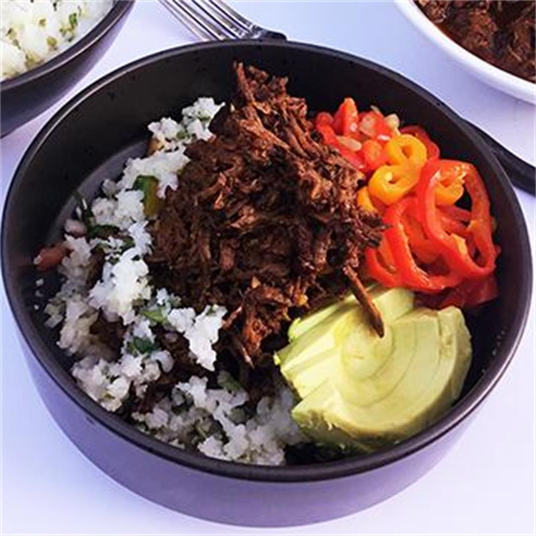 Wagyu Beef Barbacoa Bowls with Cilantro Cauliflower Rice