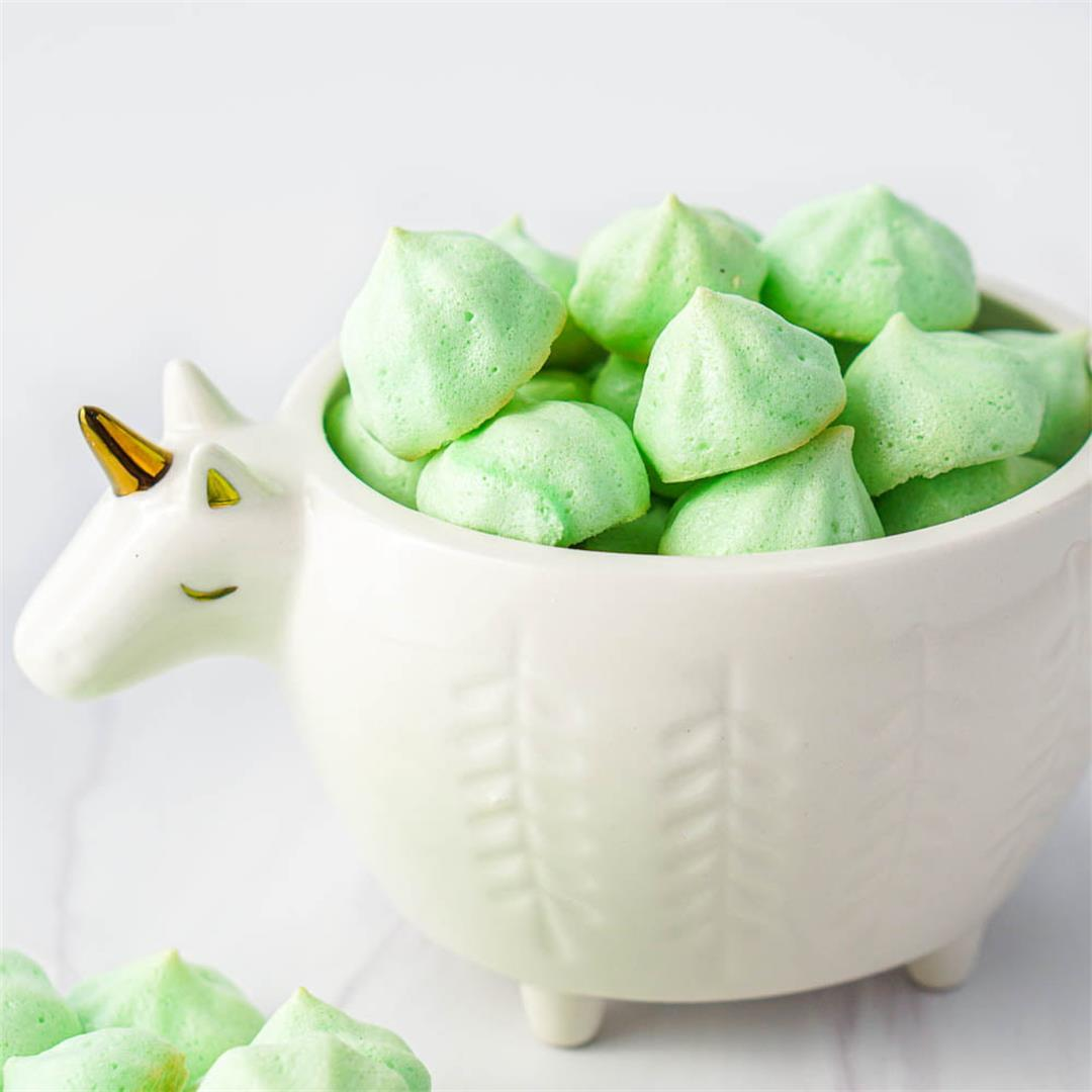 Mint Keto Meringue Cookies for St. Patrick's Day