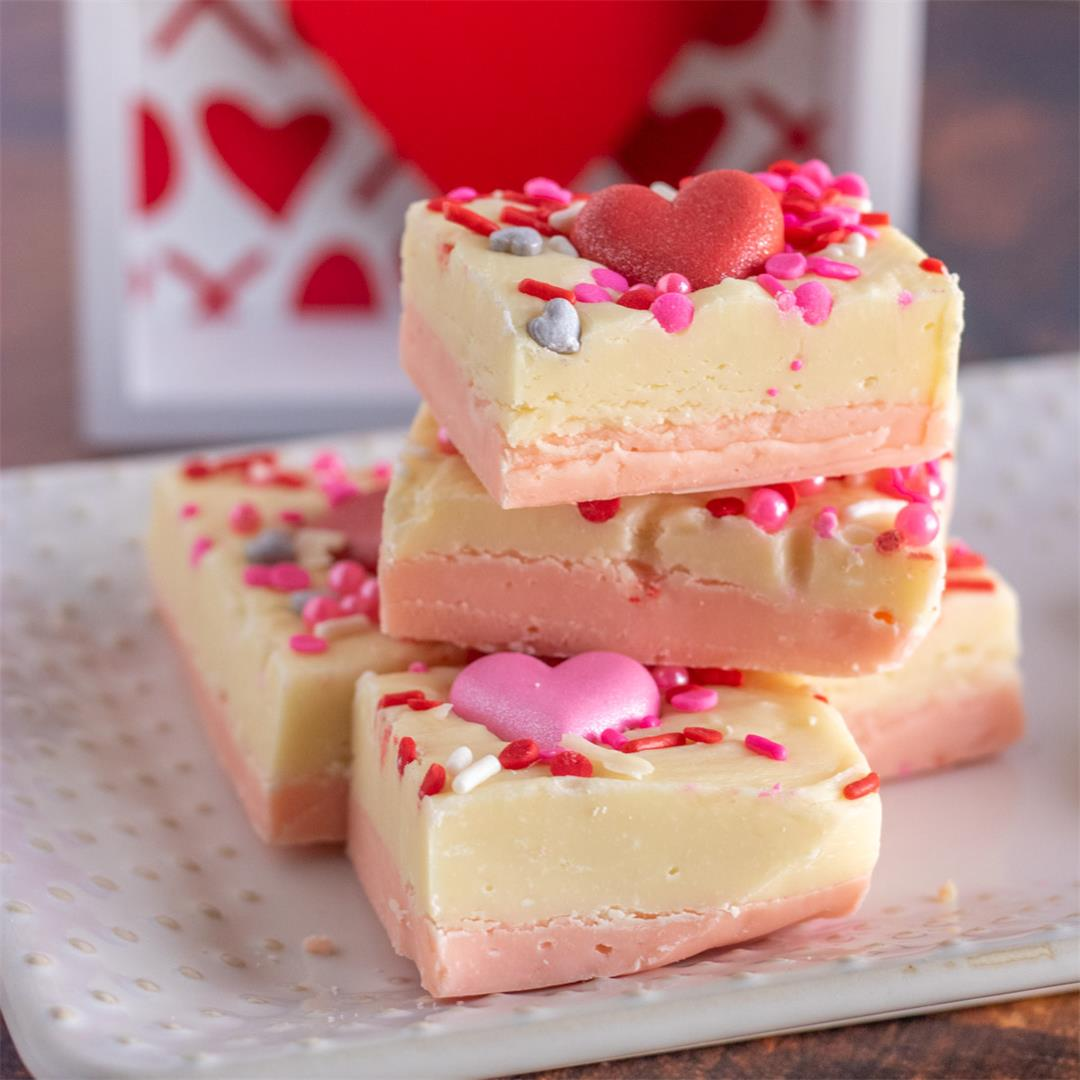 White Chocolate Fudge (Valentine's Day Fudge)