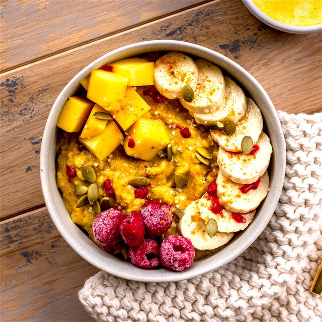 Golden Turmeric Oatmeal (vegan, gluten free)