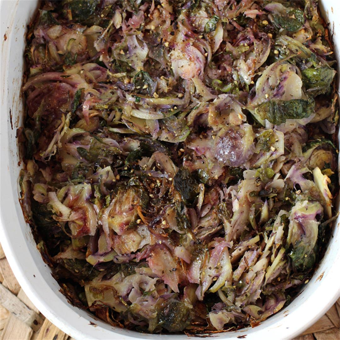Slivered and roasted purple Brussels sprouts with green garlic