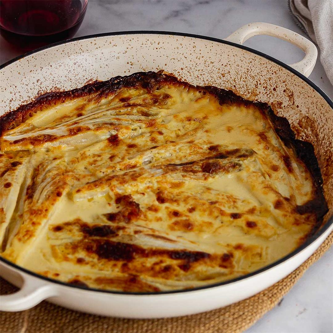 Braised Chicory Gratin with Gruyère