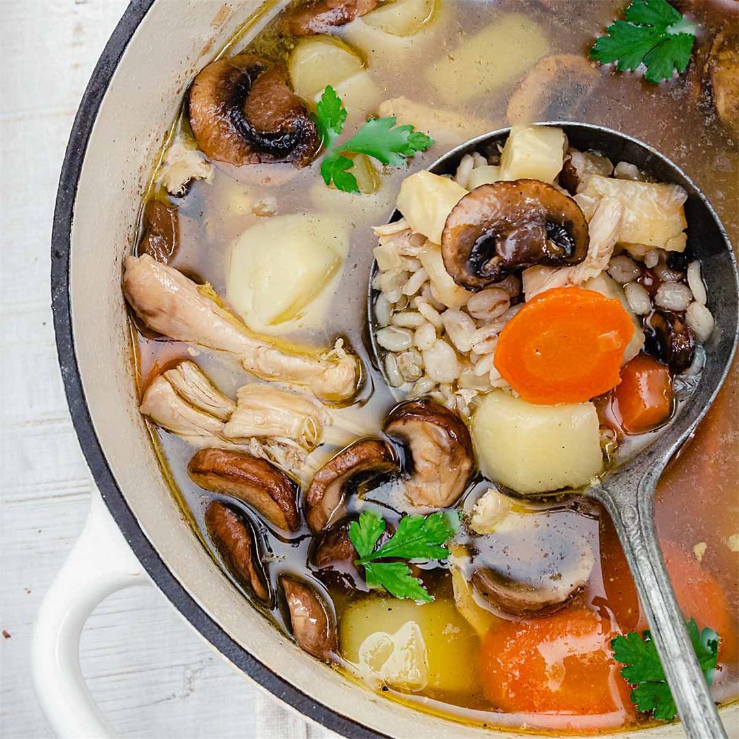 Polish Chicken Barley Soup with Mushrooms