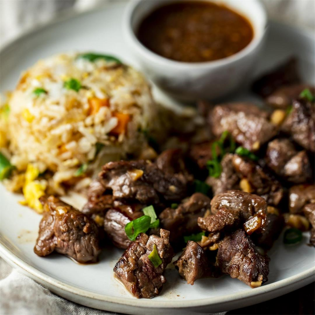 Hibachi Steak with Fried Rice and Ginger Sauce