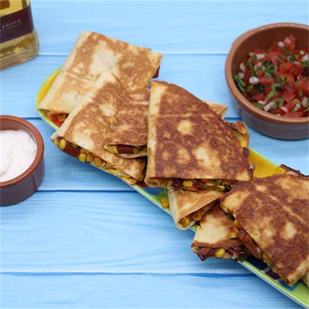 Quesadillas with Sweet Potatoes, Chorizo and Sweetcorn...plus P