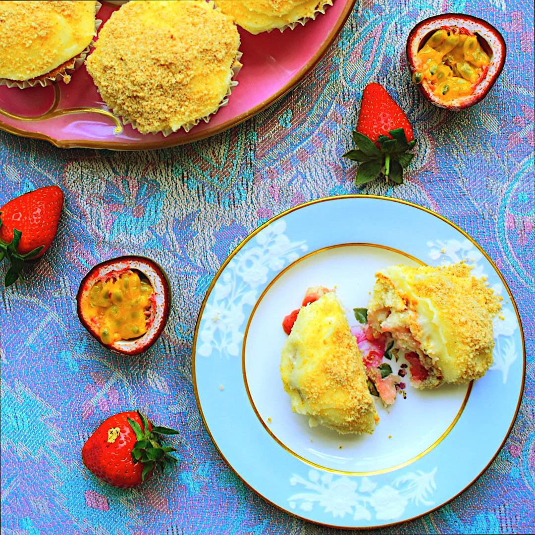 Strawberry and Passion Fruit Cupcakes