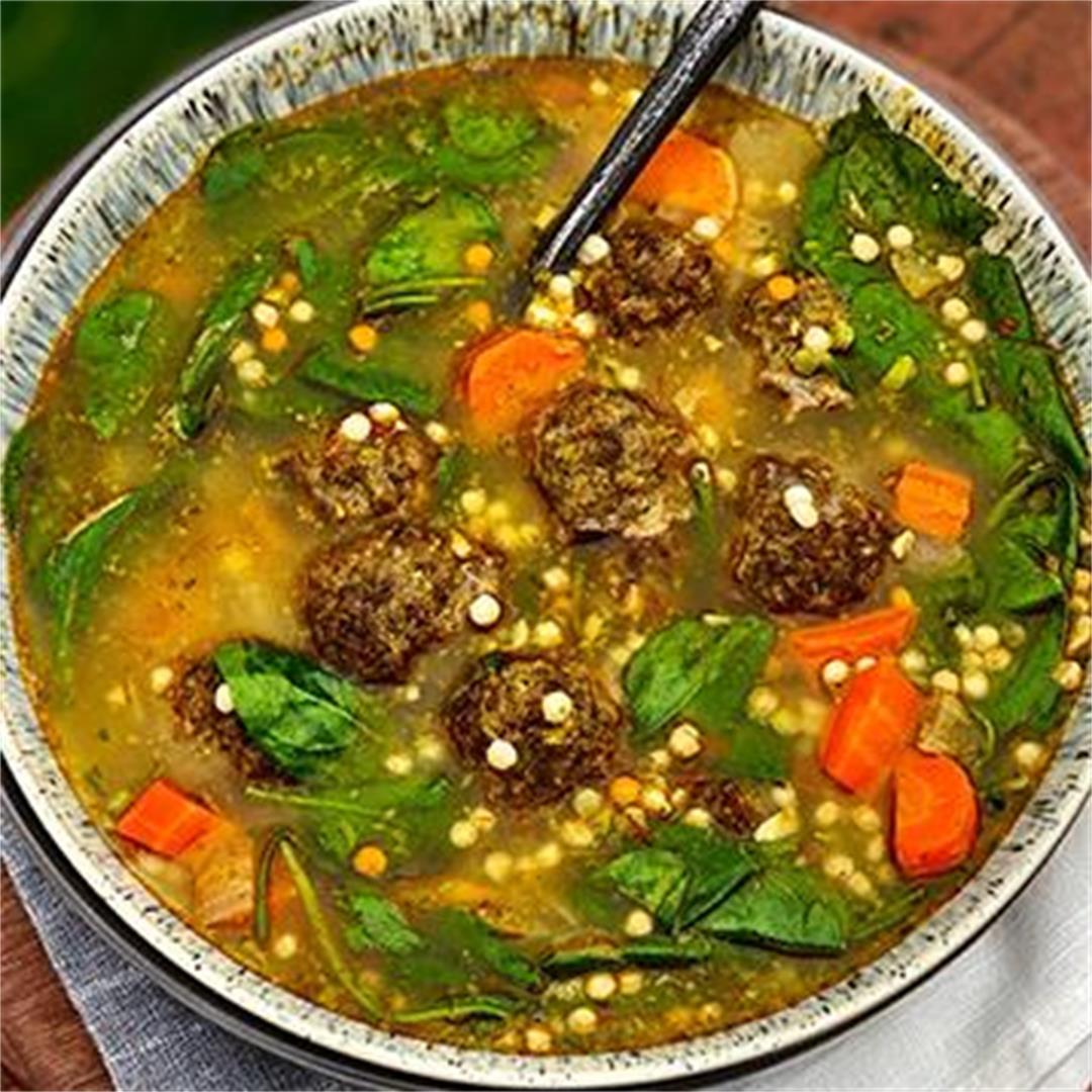 Moroccan Wagyu Beef Meatball Soup