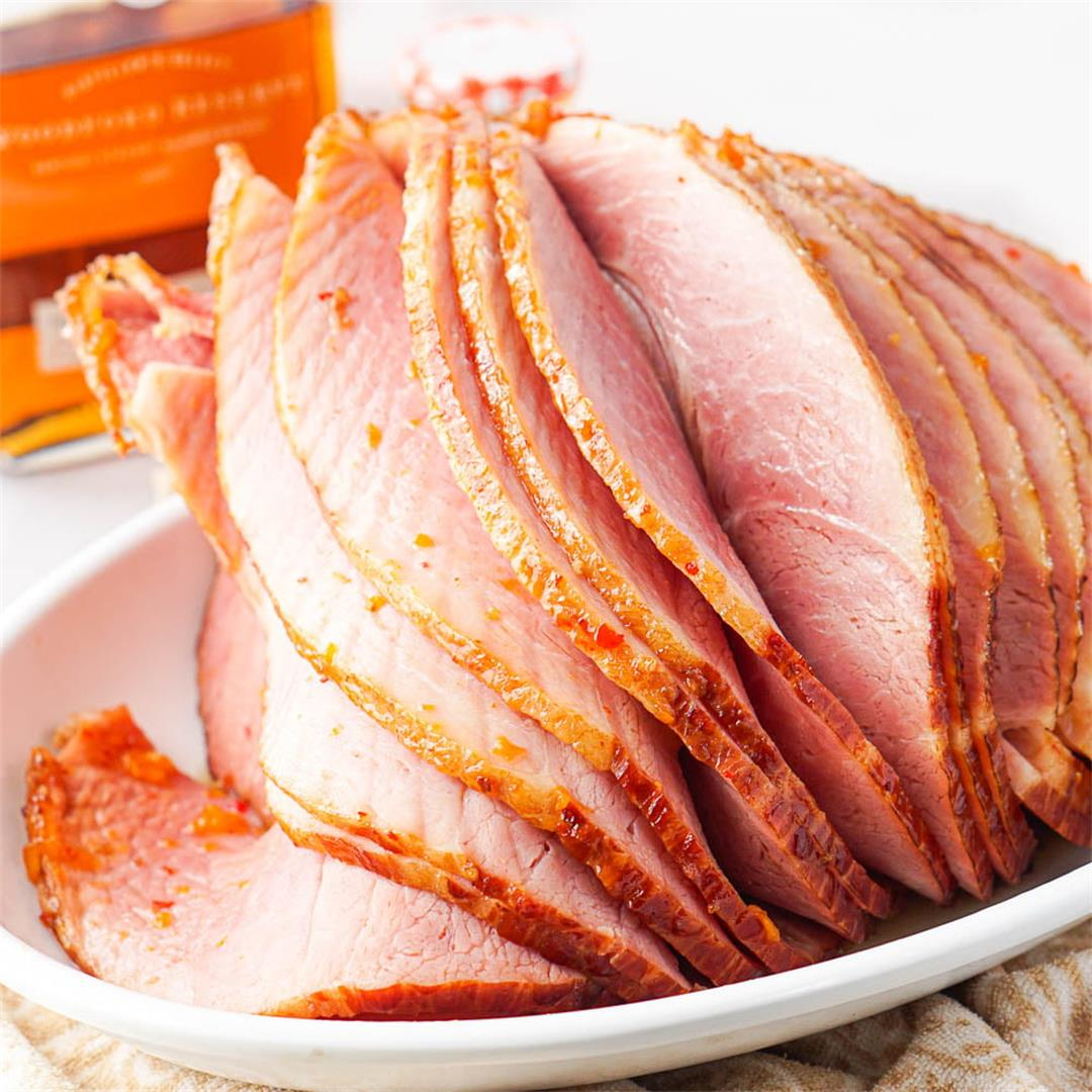 Easy Apricot Bourbon Glazed Ham Recipe- just 4 ingredients| My