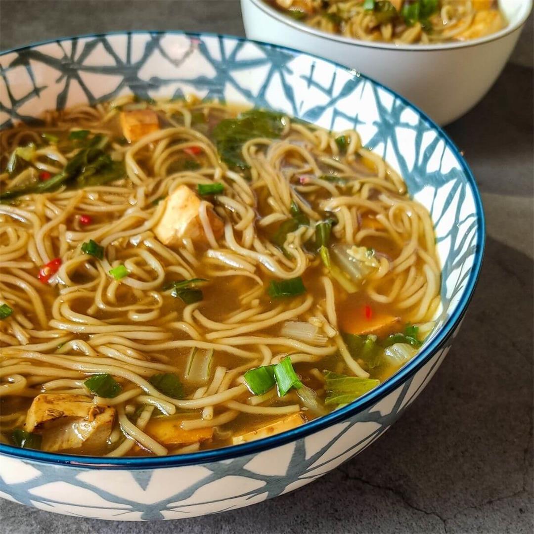 Vegan tofu noodle soup