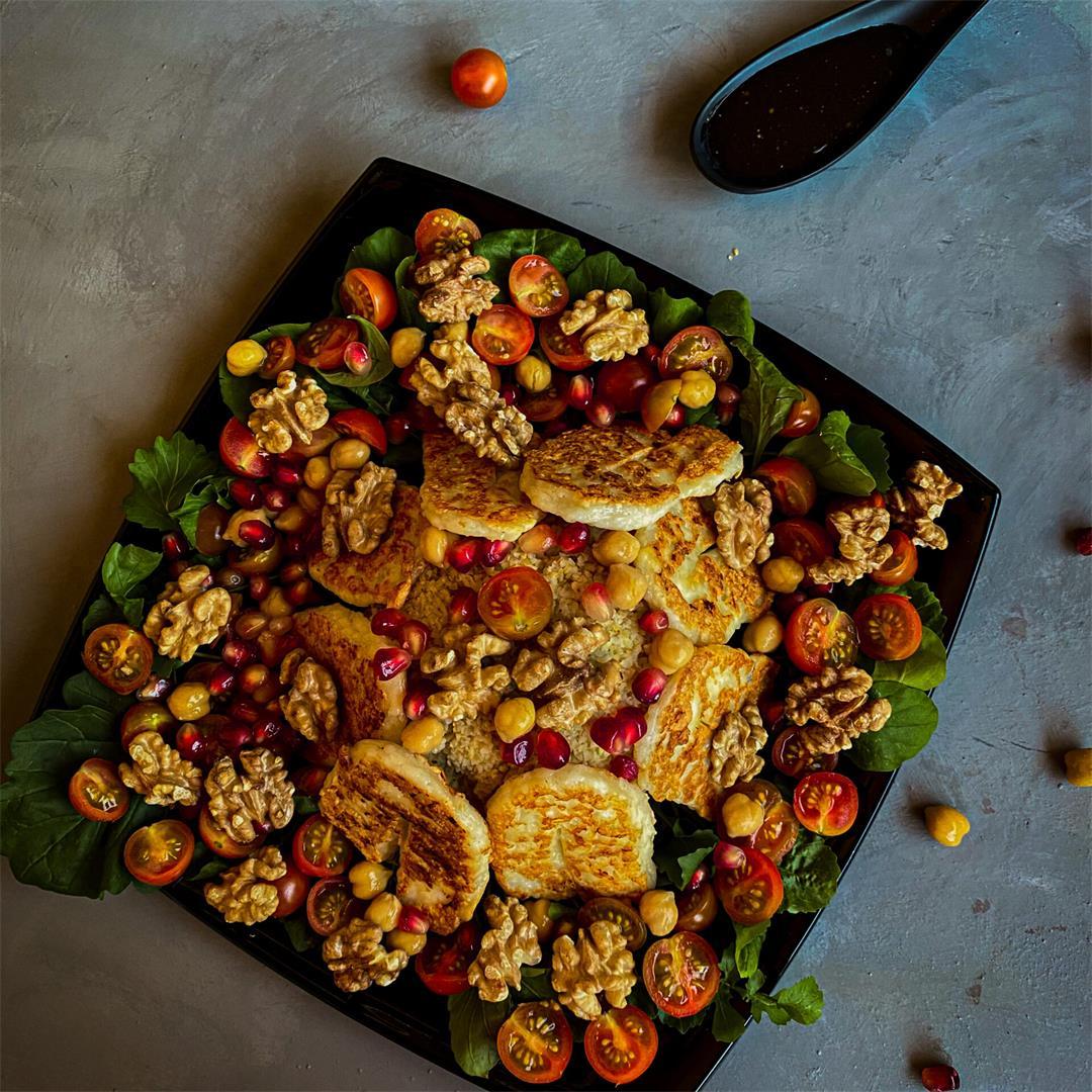 Easy Mediterranean Heart-healthy Grilled Halloumi Bulgur Salad