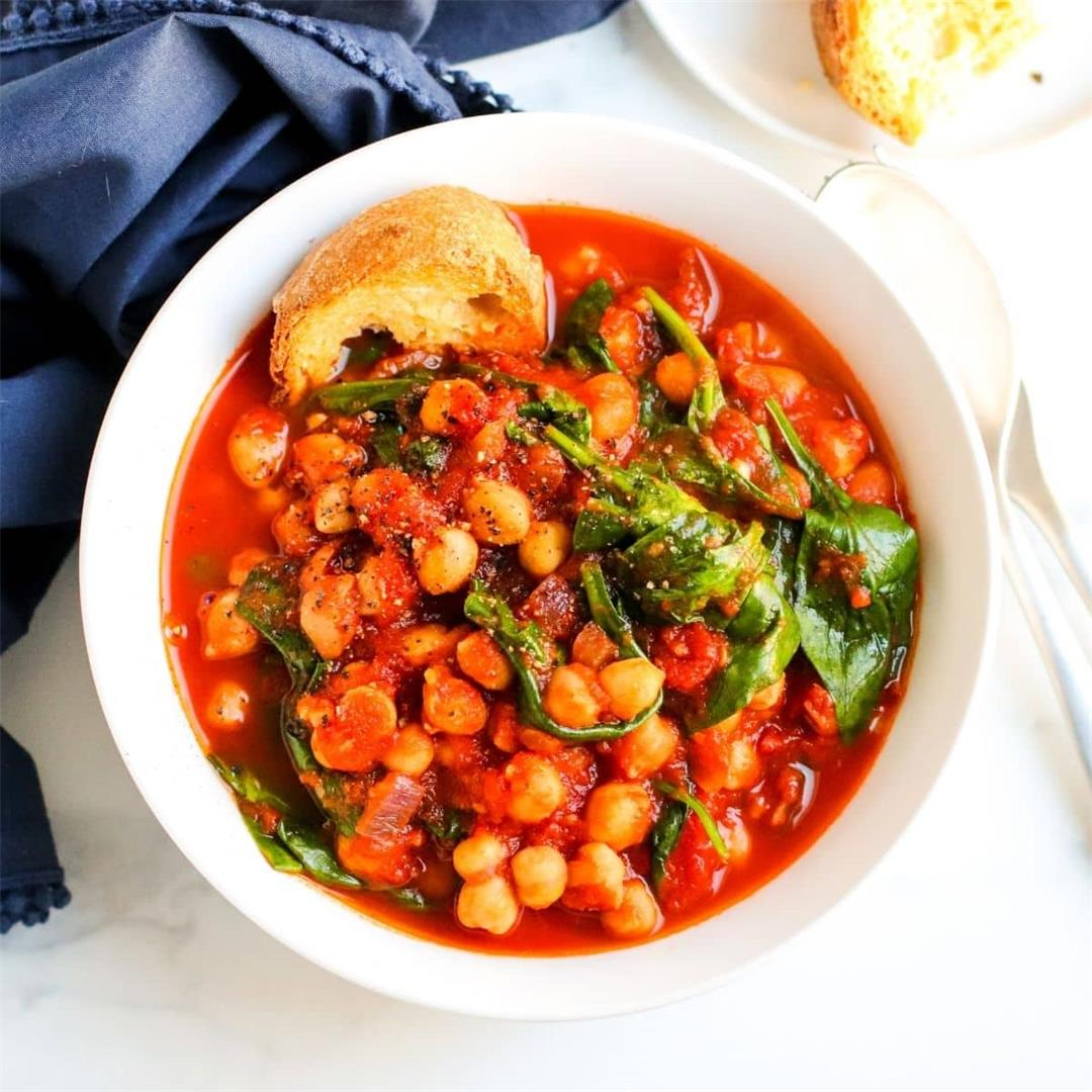 Spanish Chickpea Stew with Spinach