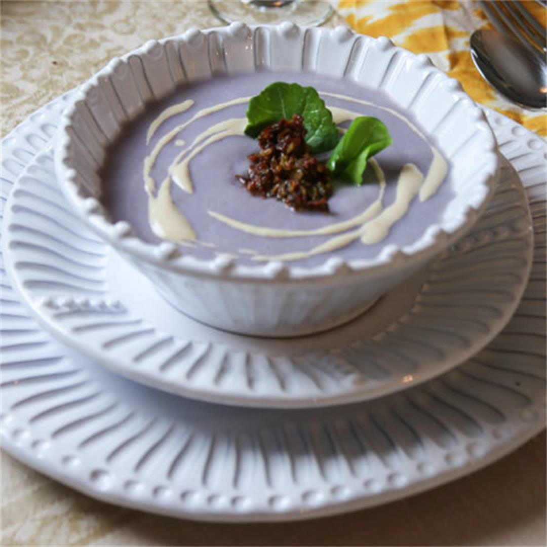 Simple Cauliflower Soup with Sundried Tomato Tapenade
