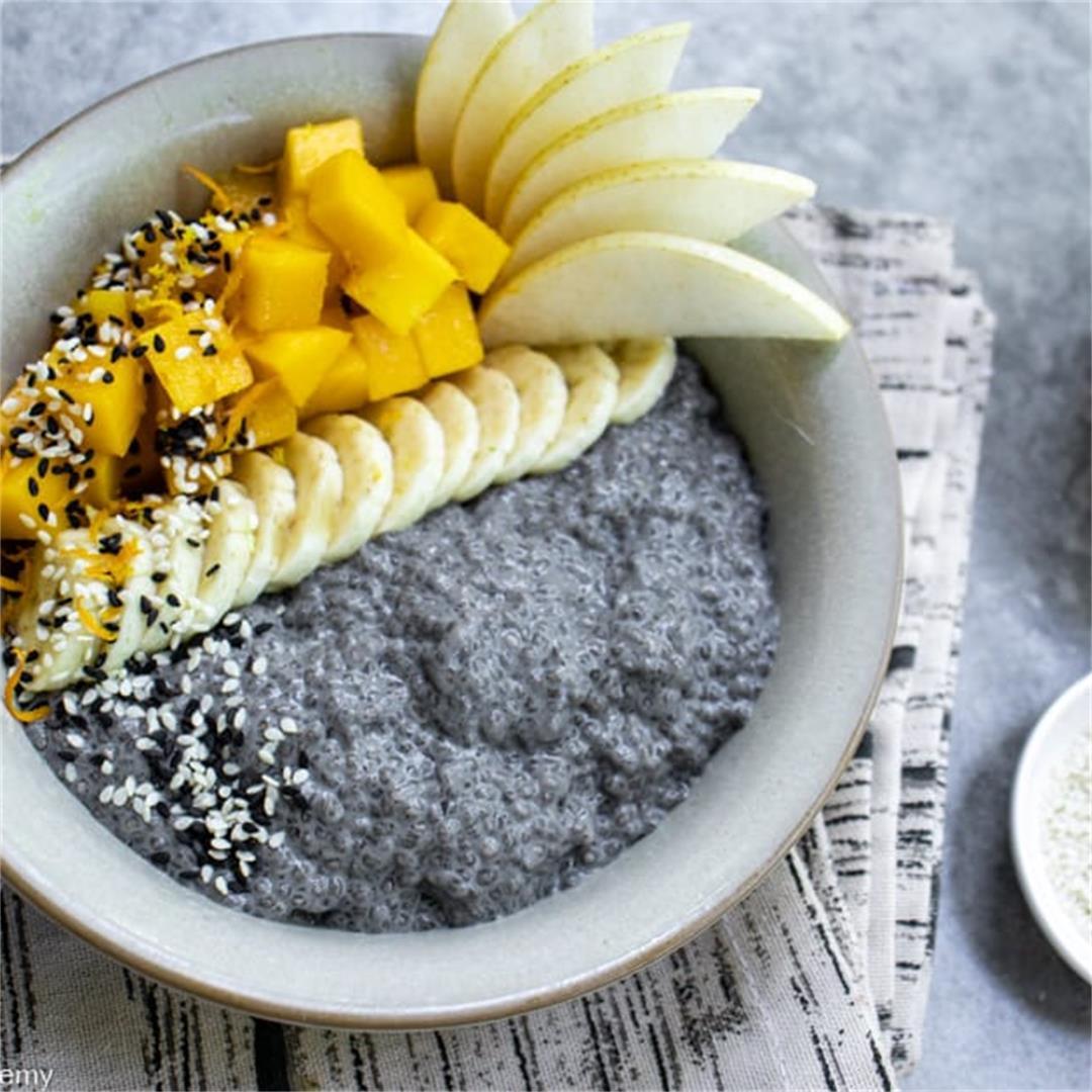 Chia Pudding, Black Sesame Milk, Mango, Banana & Asian Pear