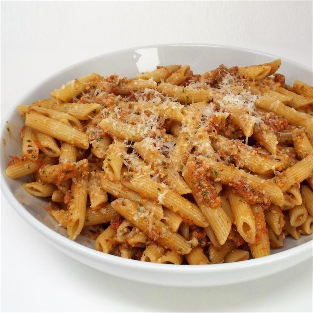 Tomato Pesto Pasta with Almonds