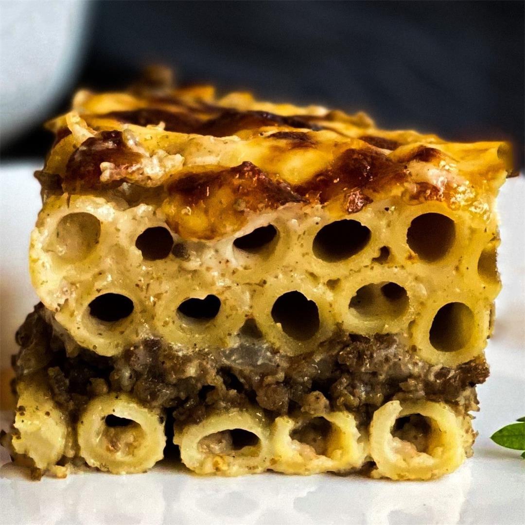Egyptian Light Creamy Baked Béchamel Pasta (Greek Pastitsio)