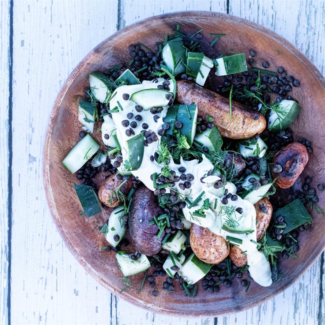 Crispy Potatoes with Lentil Salad & Easy Lemon Dill Hummus