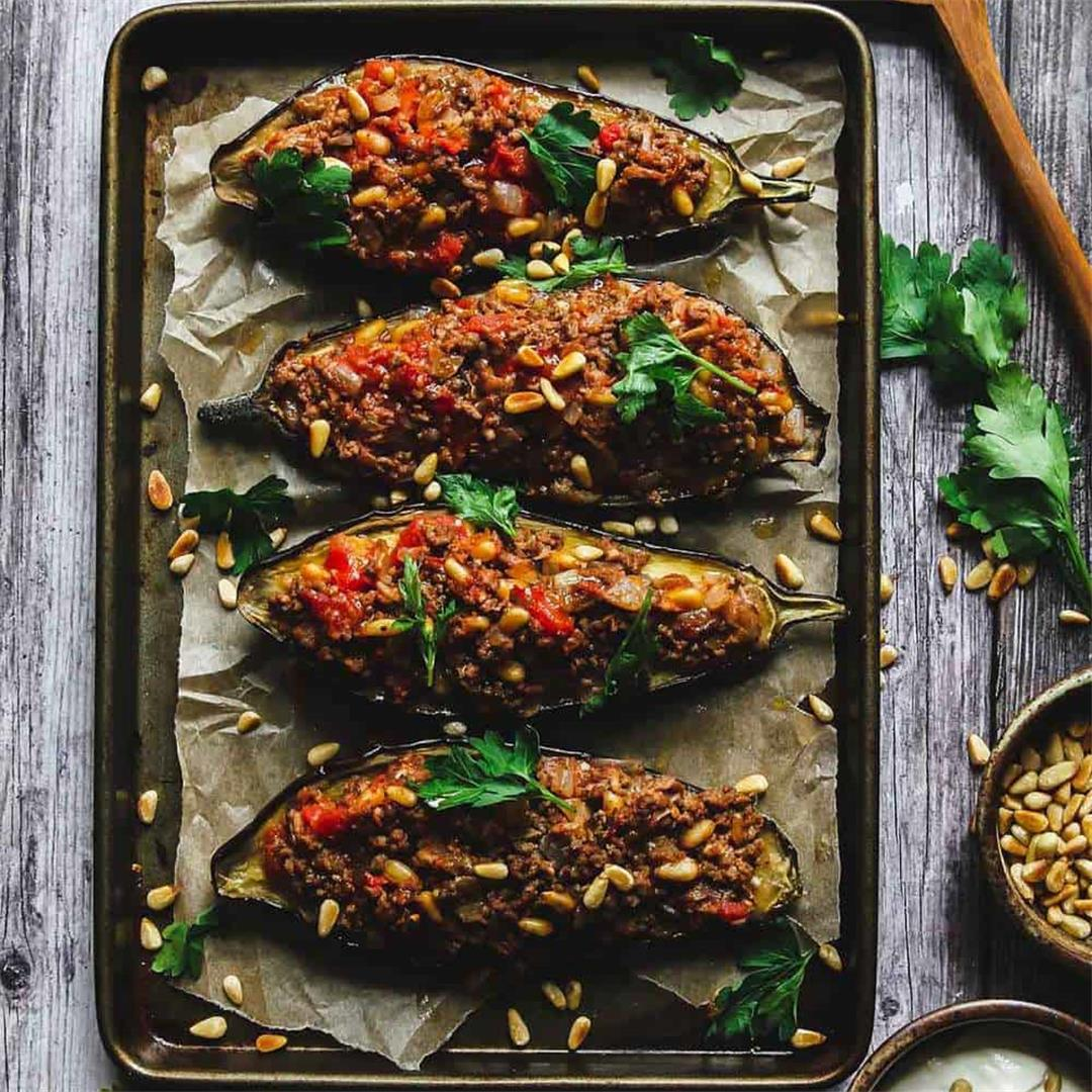 Jordanian Stuffed Eggplant with Ground Lamb and Pine Nuts
