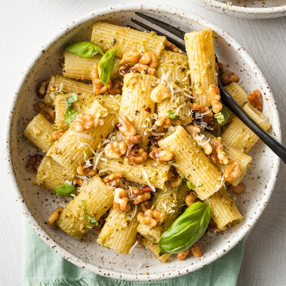 Pesto Rigatoni with Toasted Walnuts