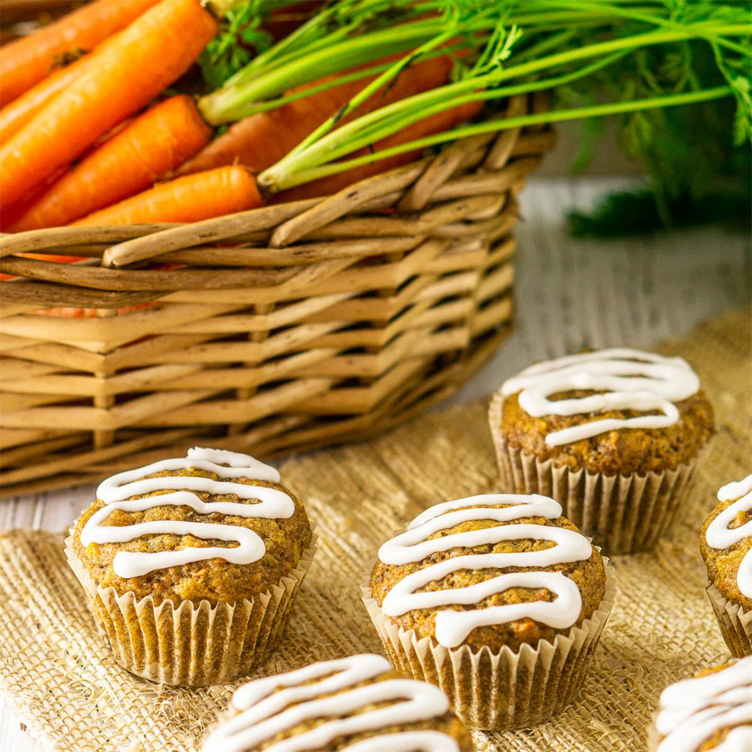 Carrot Cake Muffins With Cream Cheese Glaze