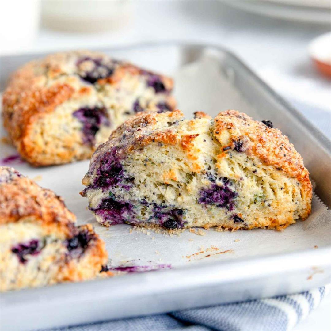 Lemon Blueberry Scones with Poppy Seeds