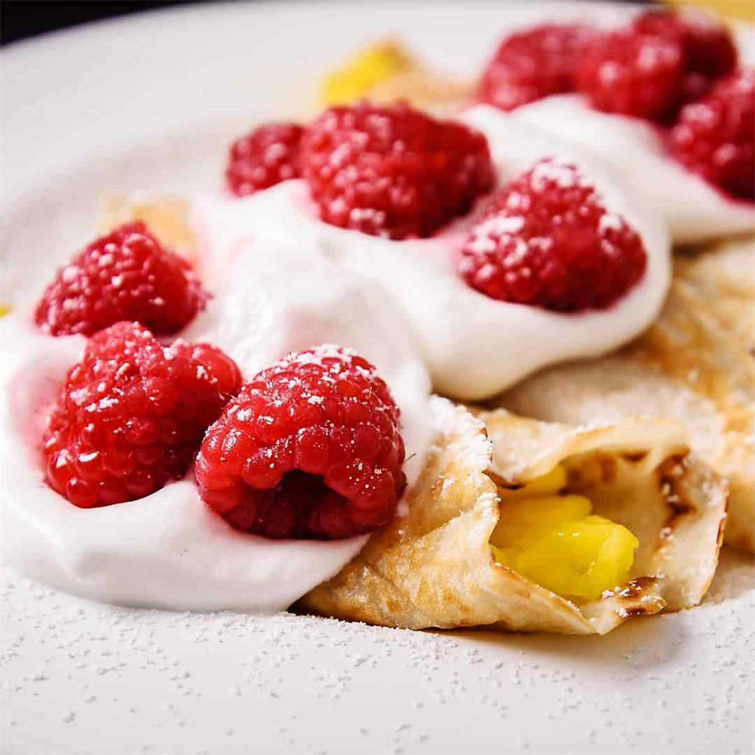Mango & Raspberry Cider Crepes, incredibly easy!