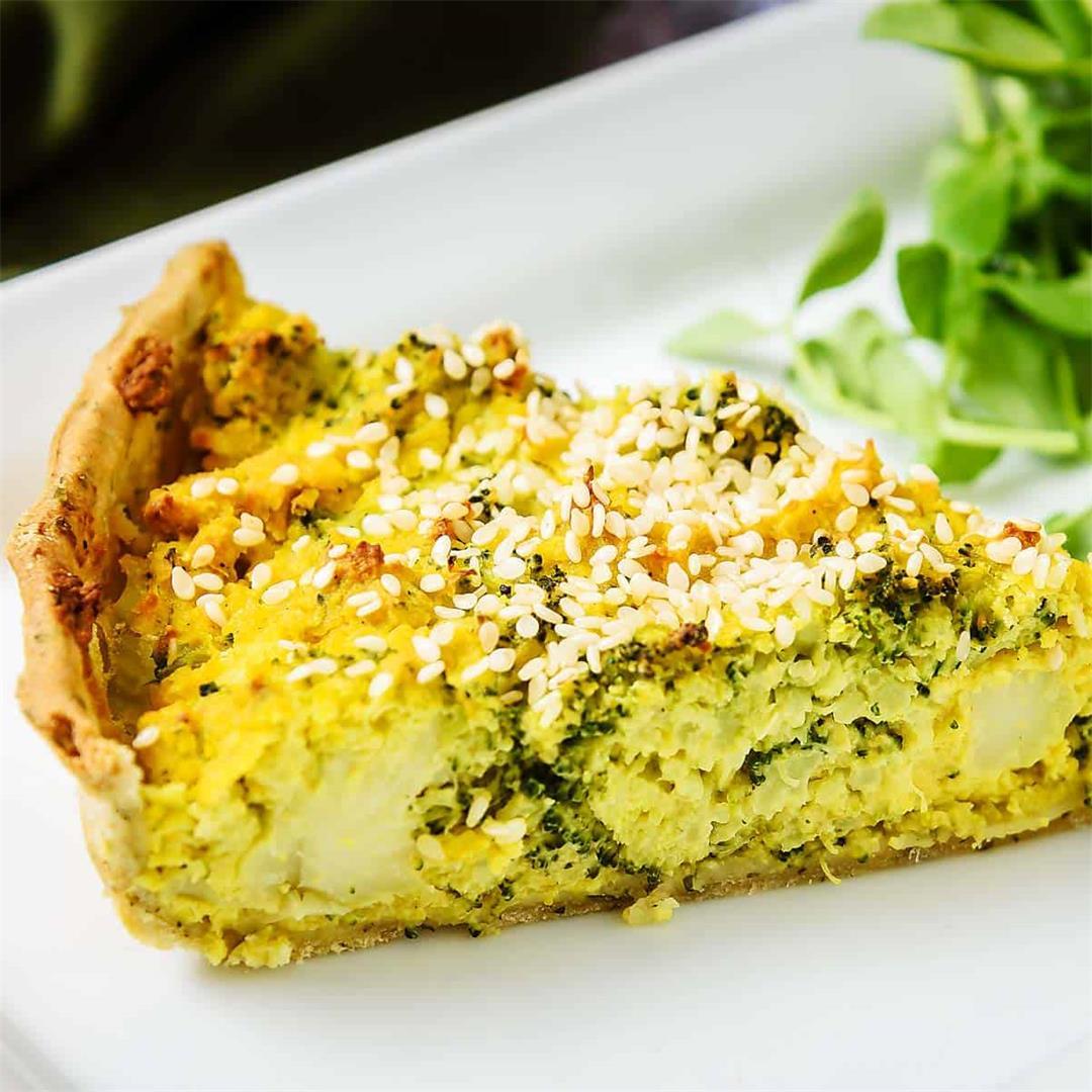 Vegan Tofu & Broccoli Quiche, Easy and Delicious!