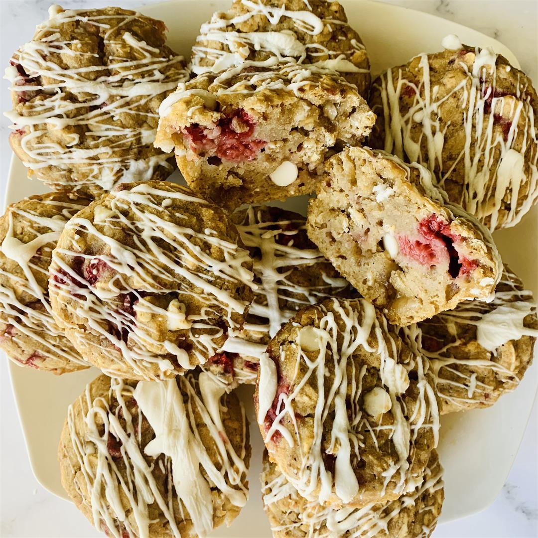Healthy Raspberry White Chocolate Muffins