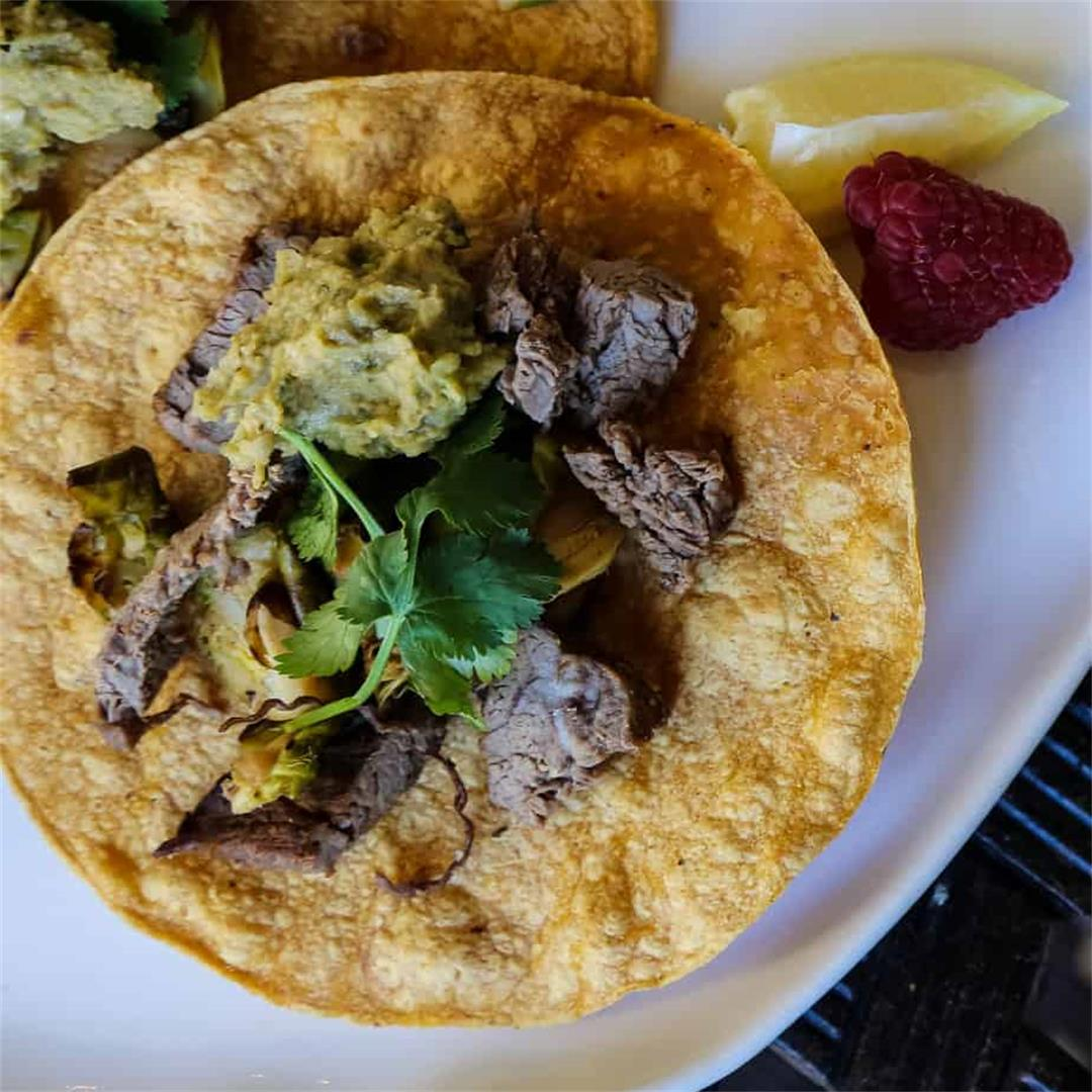 Flank Steak Tacos with Roasted Brussels Sprouts and Avocado Hum