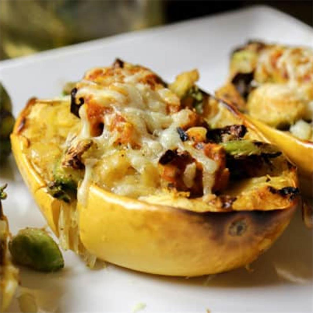 Stuffed Spaghetti Squash with Brussels Sprouts and Red Pepper S