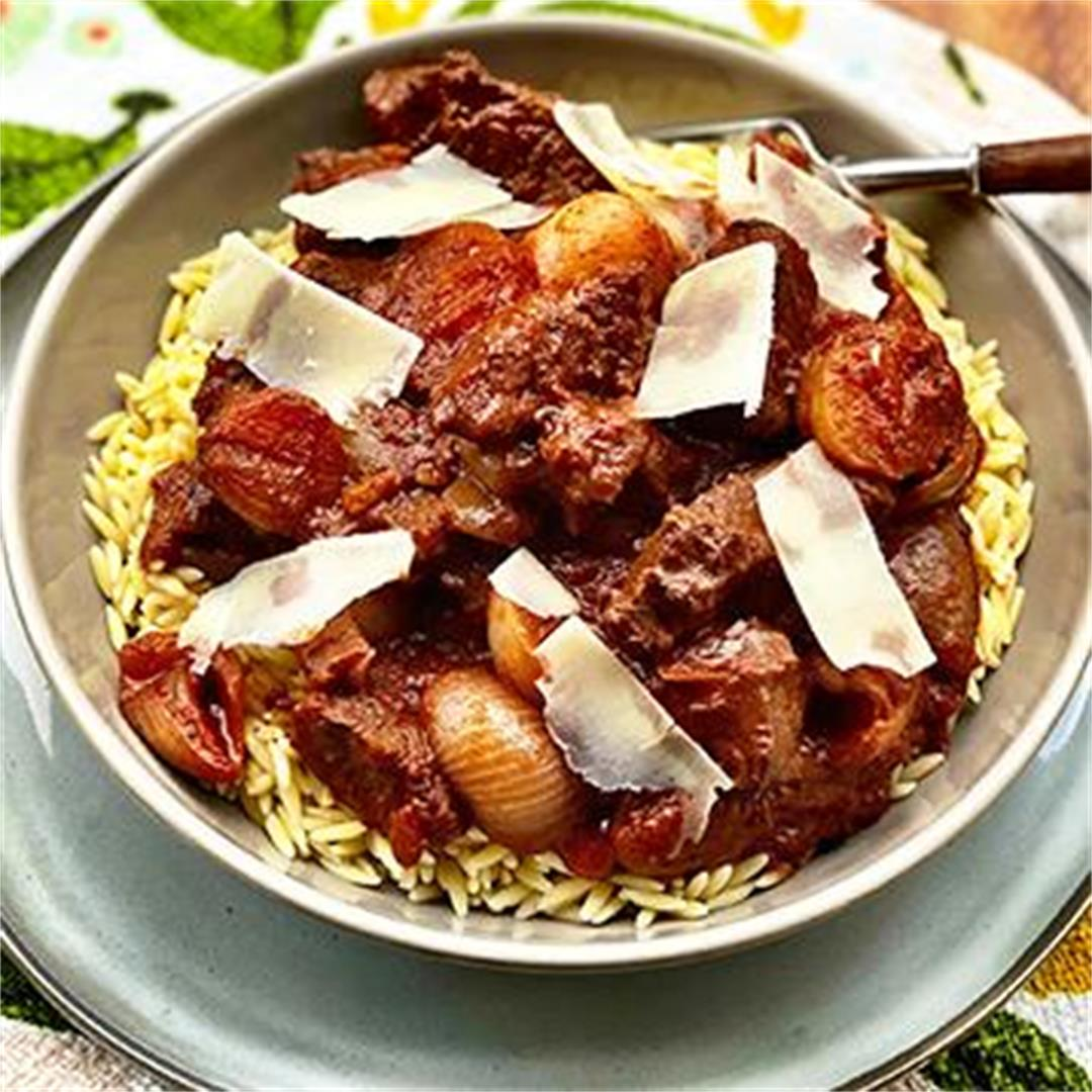 Greek Beef Stifado with Wagyu Beef and Orzo