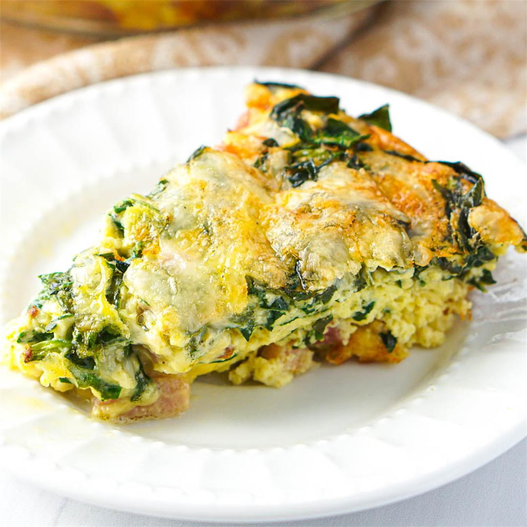 Crustless Keto Quiche with Ham & Cheese