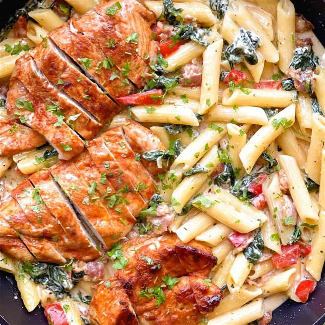 Creamy Chicken Bacon And Spinach Pasta