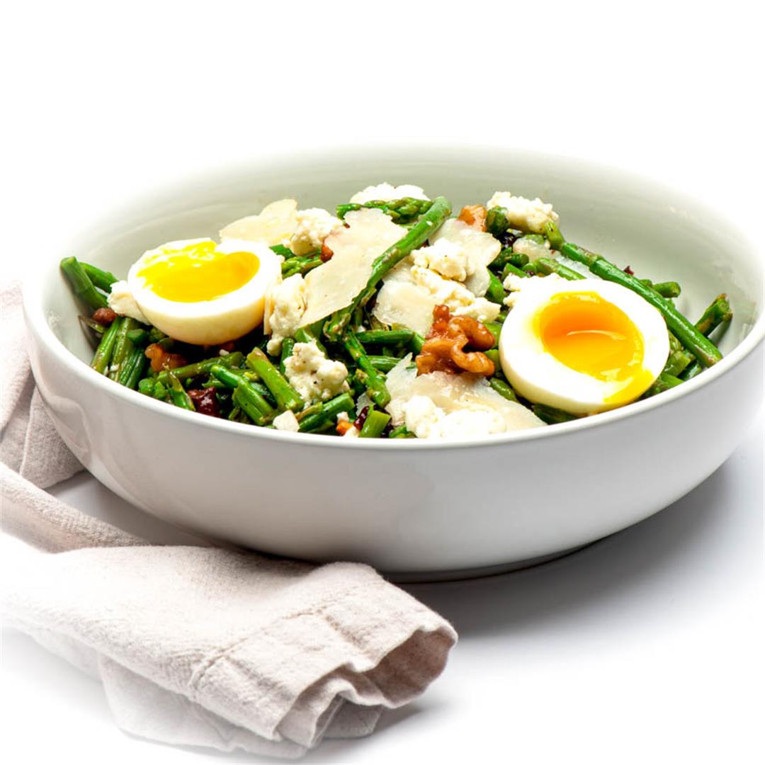 Warm Asparagus Salad With Walnuts and Jammy Eggs