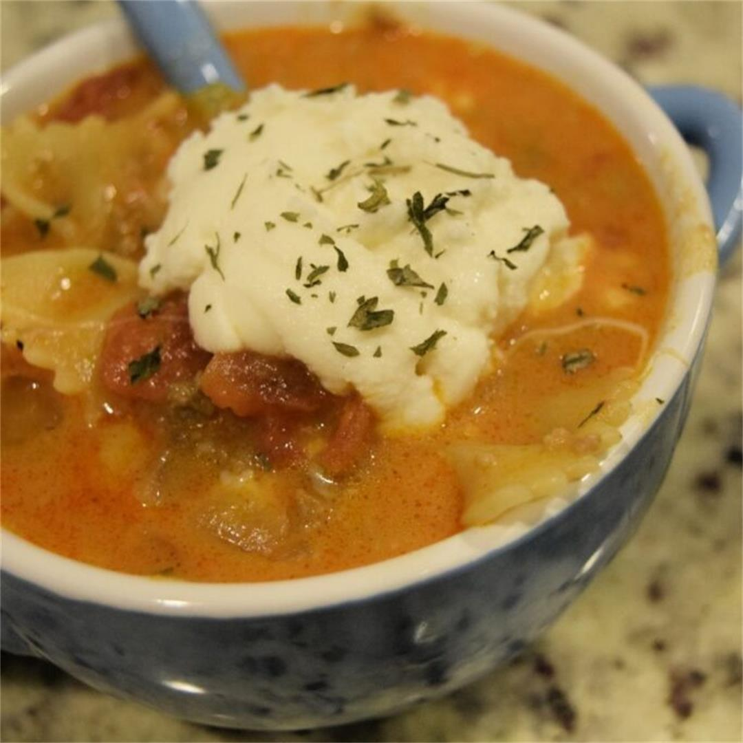 One Pot Lasagna Soup Recipe (Dutch Oven Soup Recipe)